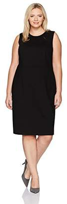 Kasper Women's Plus Size Compression Ponte Sheath Dress