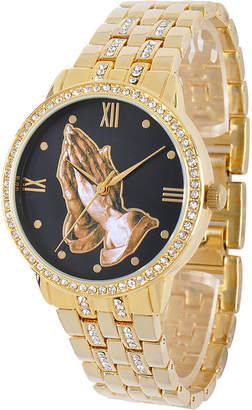 JCPenney FINE JEWELRY Personalized Crystal-Accent Gold-Tone Praying Hands Watch