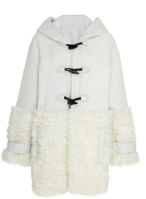 J. Mendel Hooded Shearling Toggle Coat