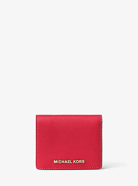 Michael Kors Jet Set Travel Saffiano Leather Card Holder - RED - STYLE