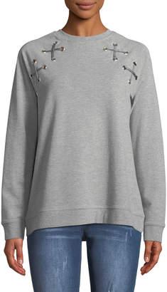 Velvet Heart Bayou Lace-Up Shoulder Sweatshirt