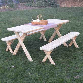 Loon Peak Starkey Pine Cross-leg Picnic Table with 2 Benches