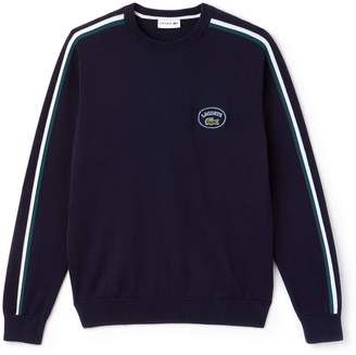 Lacoste Men's Crew Neck Contrast Accents Cotton Jersey Sweater