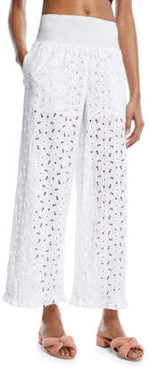 Kisuii Jacqueline Floral Eyelet Wide-Leg Beach Pants