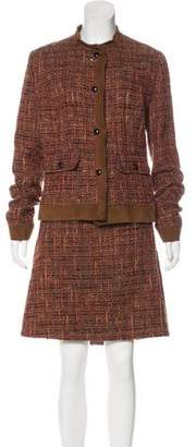 Dolce & Gabbana Suede-Trimmed Tweed Skirt Suit