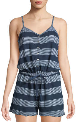 Allen Allen Striped Button-Front Cami-Romper