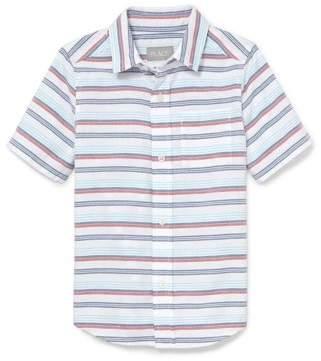 Children's Place The Boy's Short Sleeve Oxford Stripe Plaid Button Up Shirt