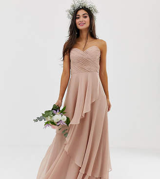 Asos DESIGN Petite bridesmaid maxi bandeau dress with soft layered skirt