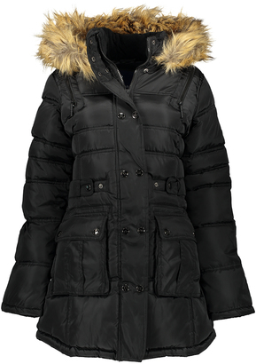 Black Faux Fur-Hood Pocket Puffer Coat $119 thestylecure.com