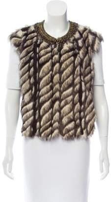 Twelfth Street By Cynthia Vincent Embellished Faux Fur Vest