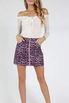 Honey Punch Purple Leopard Skirt