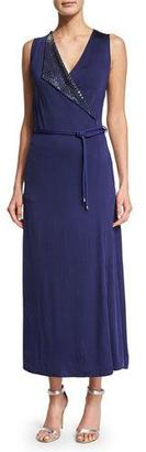 Giorgio Armani Sleeveless Embellished Wrap Gown, Ink $3,995 thestylecure.com