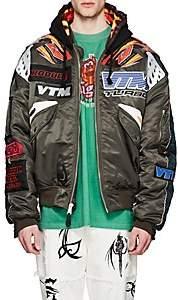 Vetements Men's Reversible Motocross Oversized Hooded Bomber Jacket - Olive