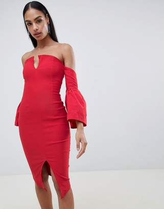Vesper bell sleeve pencil dress with front split