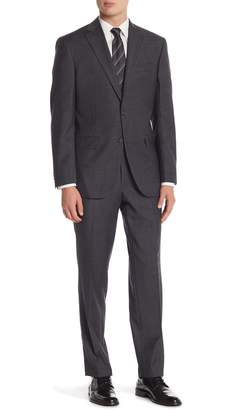 David Donahue Charcoal Gingham Two Button Notch Lapel Classic Fit Suit