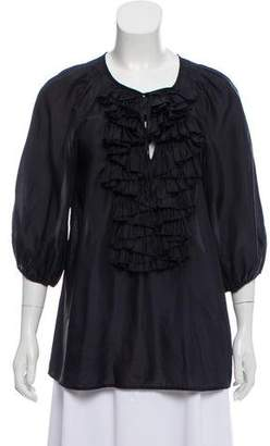 Givenchy Silk Ruffle-Accented Top