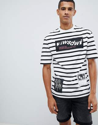 ONLY & SONS Drop Shoulder T-Shirt In Stripe With Mixed Graphics