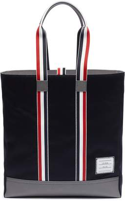 Thom Browne Stripe handle pebble grain panel twill tote