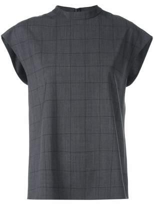 Tibi Menswear Windowpane Mock Neck Top
