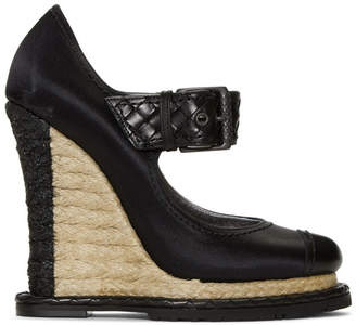 Bottega Veneta Black Satin Wedge Sandals
