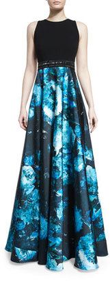 Carmen Marc Valvo Sleeveless Wool & Floral Satin Combo Gown, Black/Turquoise $1,295 thestylecure.com