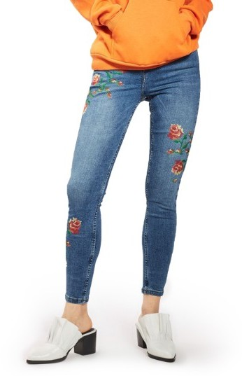 Topshop Women's Topshop Jamie Embroidered Skinny Jeans