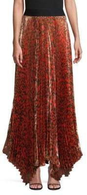 Alice + Olivia Katz Pleated Leopard Maxi Skirt