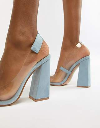 Public Desire Lure pale blue block heeled clear court shoes