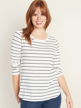 Old Navy Luxe Long-Sleeve Hi-Lo Hem Striped Tee for Women