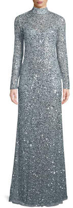 Parker Black Leandra Sequin High-Neck Long-Sleeve Gown