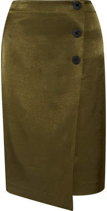 Malliah Satin-twill Wrap-effect Skirt - Army green