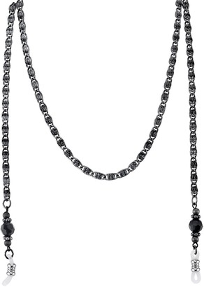1928 Black Bead Eyeglass Chain