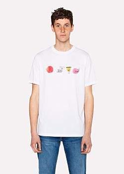 Paul Smith Men's White T-Shirt With 'Skulls And Zebra' Print