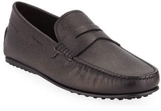 Tod's Men's Textured Leather Penny Driver