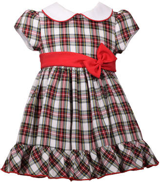Bonnie Jean Short Sleeve Plaid A-Line Dress - Baby Girls