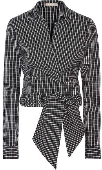 Michael Kors Collection - Cropped Checked Cotton-blend Poplin Wrap Shirt - Black
