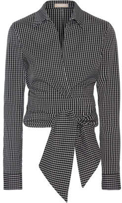 Michael Kors Collection - Cropped Checked Cotton-blend Poplin Wrap Shirt - Black $595 thestylecure.com