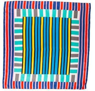 Diane von Furstenberg Striped Silk Scarf Blue Striped Silk Scarf