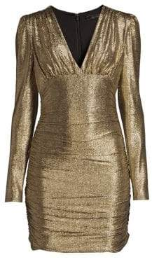 BCBGMAXAZRIA Women's Metallic Knit Dress - Gold Combo - Size Large