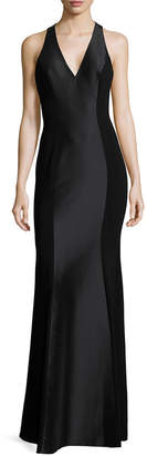 Theia Racerback Zip Gown