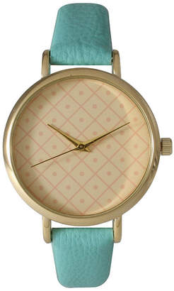 OLIVIA PRATT Olivia Pratt Womens Checkered Dial Mint Petite Leather Watch 14543
