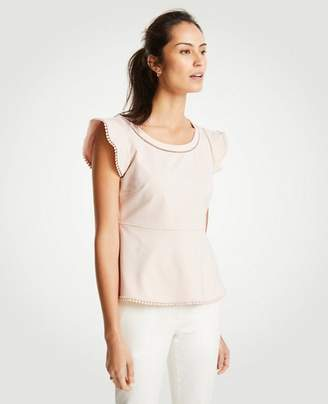 Ann Taylor Ponte Ball Trim Peplum Top