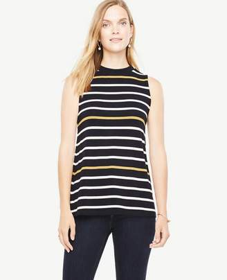 Ann Taylor Striped Sleeveless Mock Neck Top