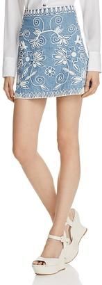 Alice + Olivia Riley Embroidered Denim Skirt $275 thestylecure.com
