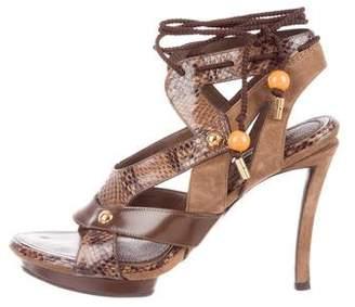 Louis Vuitton Snakeskin-Trimmed Platform Sandals