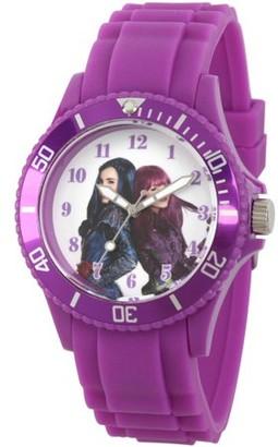 Disney Descendants 2 Mal and Evie Women's Purple Plastic Watch, Purple Bezel, Purple Plastic Strap