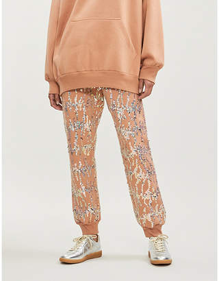 Ashish Sequin-embellished cotton-blend jogging bottoms
