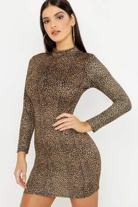 boohoo Leopard Print Bodycon Mini Dress