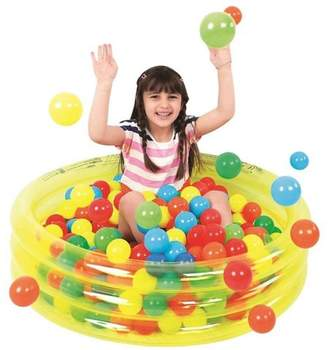 """Pool' Pool Central 36"""" Inflatable Children's Play Pool Ball Pit - Transparent Yellow"""