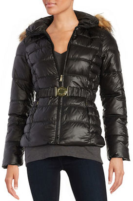 Guess Faux Fur-Trimmed Puffer Coat $210 thestylecure.com